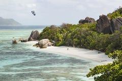 Tourists at Anse Source D& x27;Argent, La Digue, Seychelles Stock Photo