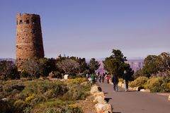 Tourists approach the Watchtower Royalty Free Stock Image