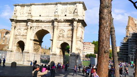 Tourists at the Arch of Constantine stock footage