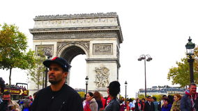 Tourists at Arch of Triumph in Paris stock video footage