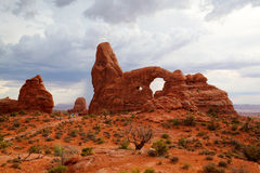 Tourists in Arches National Park. - HDR Image. Stock Images