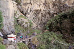 Tourists Are Going To The Tiger S Nest, Paro, Bhutan Royalty Free Stock Photo