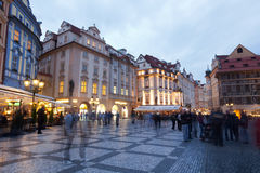 Tourists on the area in the evening in Prague Stock Photos