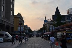 Tourists around Russian street in Dalian city, China. Pic was ta royalty free stock image