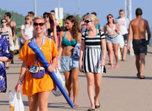Tourists arrive to the beach and camping of the FIB Festival Royalty Free Stock Photos