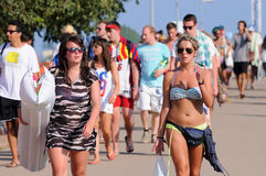 Tourists arrive to the beach and camping of the FIB Festival Stock Photos