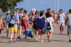 Tourists arrive to the beach and camping of the FIB Festival Royalty Free Stock Images