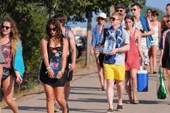 Tourists arrive to the beach and camping of the FIB Festival Royalty Free Stock Photo