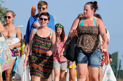Tourists arrive to the beach and camping of the FIB Festival Stock Image