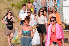 Tourists arrive to the beach and camping of the FIB Festival Royalty Free Stock Image