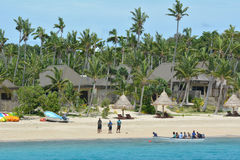 Tourists arrive to resort on one of the Mamanucas islands Fiji Royalty Free Stock Photos