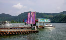 Tourists arrived in Nami Island by a ferry stock image