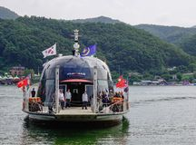 Tourists arrived in Nami Island by a ferry stock photo