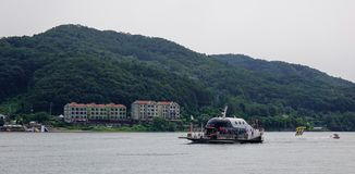 Tourists arrived in Nami Island by a ferry royalty free stock photography