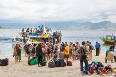 Tourists arriving in Gili air Stock Photos