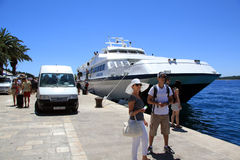 Tourists Arriving in Hvar Croatia Royalty Free Stock Photos