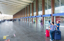 Tourists arriving at Rome Termini - the central train station in the city royalty free stock image