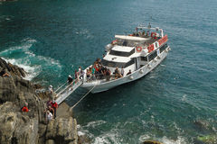 Tourists Arriving to Italian Coast Royalty Free Stock Photo