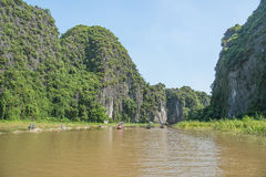 Tourists asia traveling in boat along nature the river Stock Images