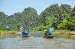 Tourists asia traveling in boat along nature the river Royalty Free Stock Image