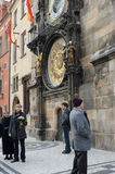 Tourists at the astronomical clock on the old town hall. Royalty Free Stock Photography