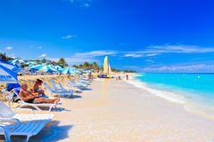 Tourists At The Beach Of Varadero In Cuba Royalty Free Stock Photos