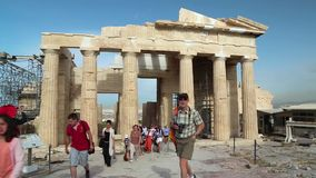 Tourists in Athenian Acropolis in Greece stock video