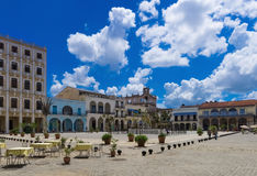 Tourists attraction Plaza vieja in the old town from Havana Cuba - Serie Cuba Reportage Royalty Free Stock Photography