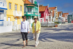 Tourists in Aveiro, Portugal. Tourists on Costa Nova, Aveiro, Portugal Royalty Free Stock Photography