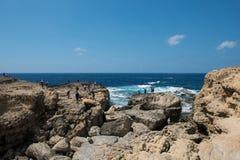 Tourists at Azure Window, Gozo island, Malta Royalty Free Stock Photo