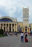 Tourists with bags,Kharkov, Ukraine, July 13, 2014 Royalty Free Stock Photography