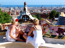 Tourists in Barcelona stock image