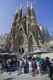 Tourists at Barcelona Cathedral Stock Photo