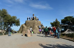 Tourists in Barcelona near Golgotha the three crosses. Stock Image