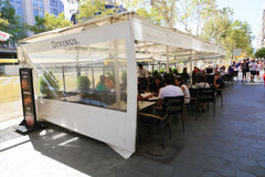 Tourists in Barcelona Restaurant Royalty Free Stock Images