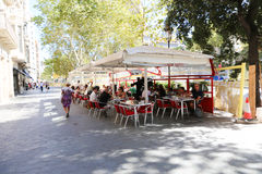Tourists in Barcelona Restaurant Stock Photography