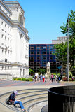 Tourists by Baskerville House, Birmingham. Stock Image