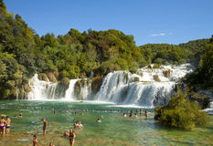 Tourists bathing at Krka waterfalls, Croatia Stock Image