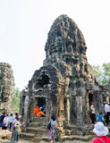 Tourists at Bayon in Angkor, Cambodia Stock Image