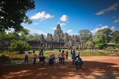Tourists at Bayon temple Stock Photography