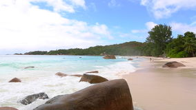 Tourists at the beach of Anse Lazio, Seychelles stock video footage