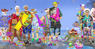 Tourists on beach in colorful beach clothes. Waiting for their boat, together with playing children, a cat, many toys and bags, over them blue sky with birds Royalty Free Stock Photography