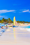 Tourists at the beach of Varadero in Cuba royalty free stock images