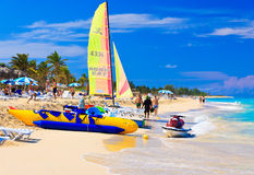 Tourists at the beach of Varadero in Cuba royalty free stock image
