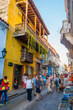 Tourists in the beautiful streets of Cartagena Stock Photography