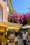 Tourists at beautiful trading streets of Chania town on Crete island, Greece Stock Photography