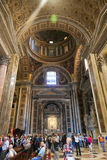 Tourists and Believers in Vatican City, Italy. VATICAN, ITALY - April 21, 2015 : Tourists and believers in Vatican City, Italy Royalty Free Stock Photo