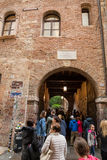 Tourists below the balcony in the Casa di Giulietta Juliet`s House, Via Cappello, Verona, Royalty Free Stock Images