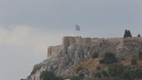 Tourists on the Belvedere of the Acropolis, Athens, Greece stock video footage