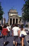 Tourists in Berlin. Heading towards Brandenburg gate Royalty Free Stock Photography